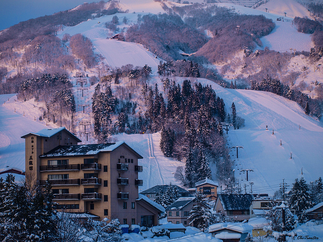 Ski resort in the evening light Hakuba Japan